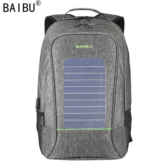 BAIBU Men Backpack Fashion Waterproof  Laptop Backpack Solar Powered Backpack Usb Charging Anti-Theft Notebook Bag For Teenagers