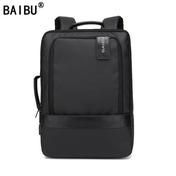 BAIBU Men Backpack Waterproof Letters USB Charging School Bags For Teenagers Student Travel 15.6 Inches Laptop Backpack Women