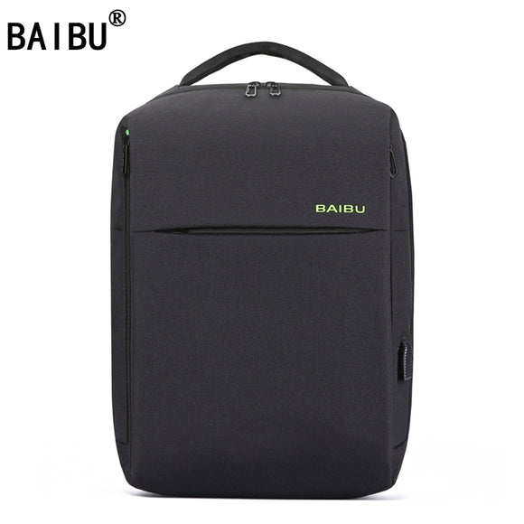 BAIBU 2018 Tide Fashion Anti Theft Men Backpack External USB Notebook Computer Charge Lnterface Travel Business Affairs Backpack
