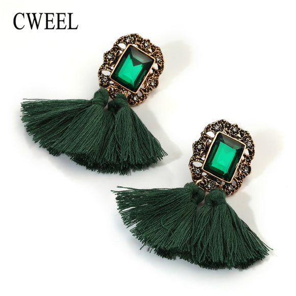 CWEEL Drop Earrings For Women Bohemian Tassel Earrings Statement Wedding Party Christmas Earings Fashion Jewelry Brincos
