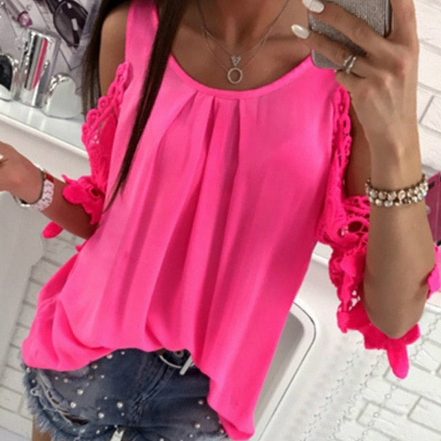 3ad2f683e4ba1 ... Summer Chiffon Women Blouses 2018 Casual Sexy Sun-top Half Sleeve Lace  Patchwork Shirts Off ...