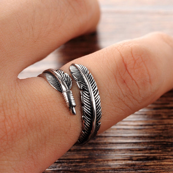 LNRRABC Gifts Alloy Unique Adjustable Resizable Feathers Women rings Men Graceful Allergy Free Couple's Silvery Retro ring