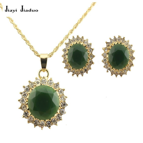 jiayijiaduo African  Wedding Jewelry Set  Gold-color Crystal Necklace Pendant for women Earrings green dress accessories
