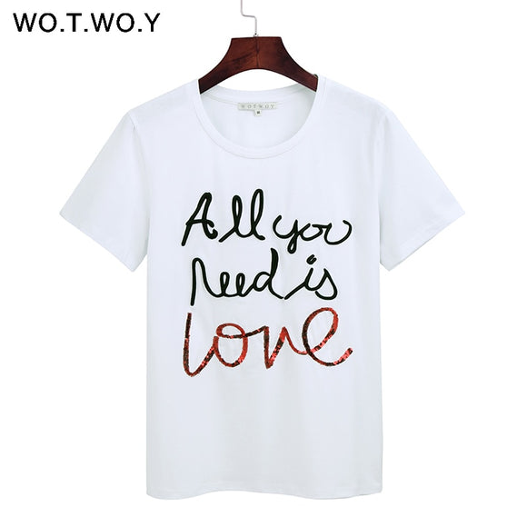 615031f4 WOTWOY Summer Sequin Tops Tees Woman Funny Letter Embroidery T Shirt Women  Black White O-