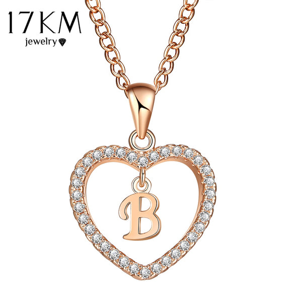 17KM Fashion 2 Color Heart Letter Name Necklaces & Pendant For Women Necklace Word Cubic Zirconia DIY Statement Jewelry Gifts