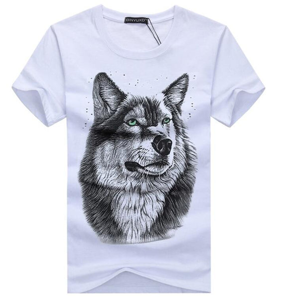 Wavesfashionista MEN TOPS White T shirt Casual Cotton Wolf Printed Cartoon Short Sleeve Tee Shirt Men Brand Tee shirt 5XL