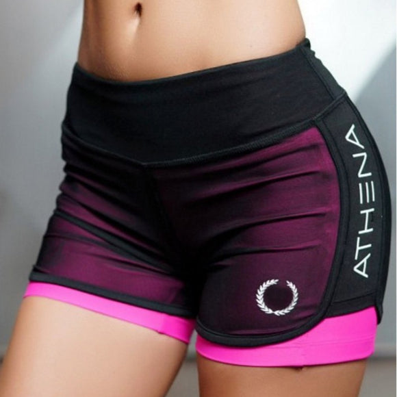 2018 Summer New Women Short for Workout Fashion Casual Active Short Feminino Fake Two Breathable Shorts Women
