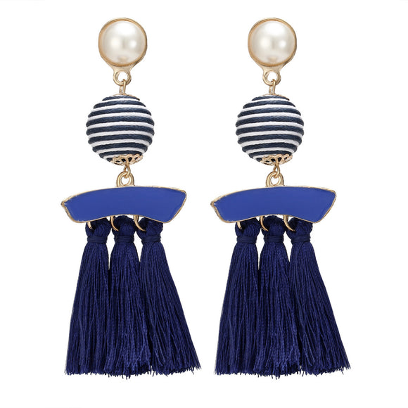 HOCOLE Fashion Simulated Pearl Tassel Earrings Vintage Big stripe Cotton Handmade Jewelry Drop Earrings for Women Accessories