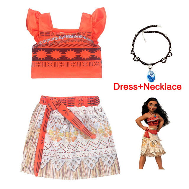 b6cb7e9959 ... Moana Girl Summer Dress with Necklace Kids Adventure Outfit Children  Princess Beach Party Cosplay Costume Vaiana ...