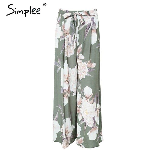 7d0164cbcf ... Simplee Sash floral print wide leg pants women Elastic loose boho  casual pants trousers Beach summer