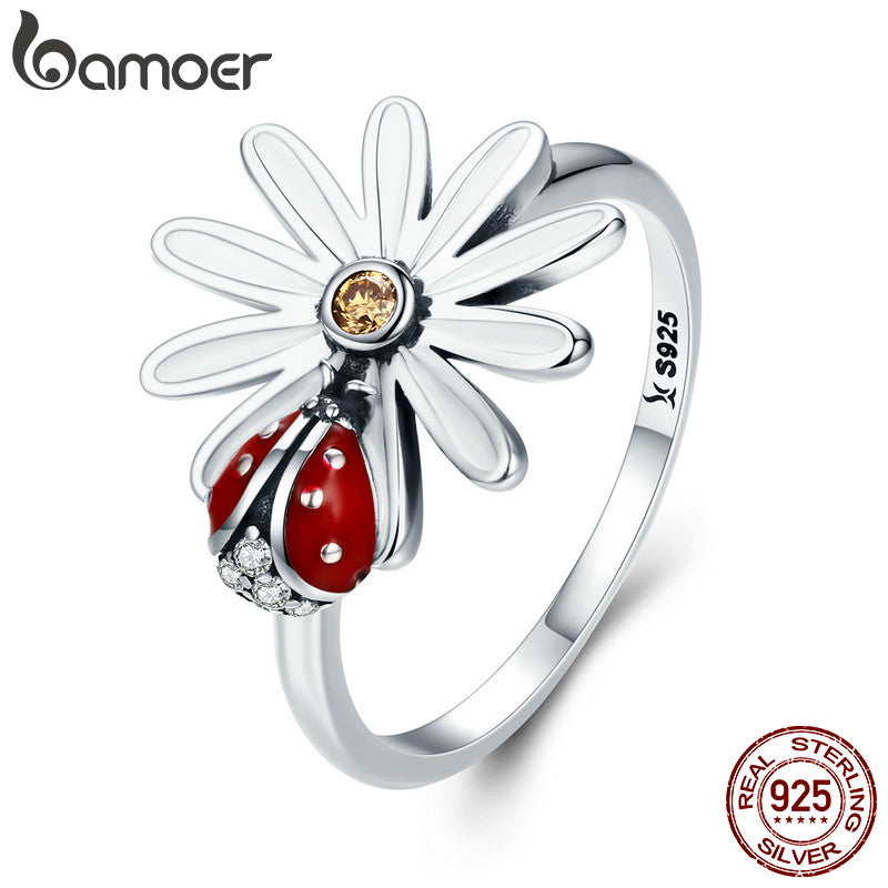 Fashion Flower And Ladybird  Wonderland 925 Sterling Silver Stud Earring Jewelry