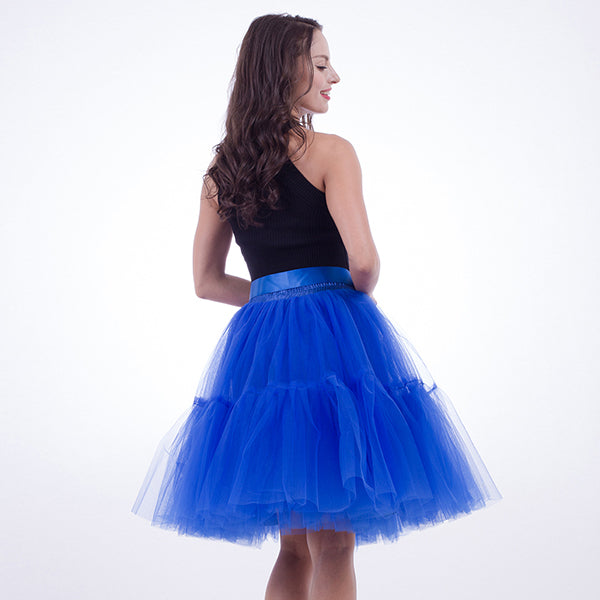 a450024fcb101 Petticoat 5 Layers 60cm Tutu Tulle Skirt Vintage Midi Pleated Skirts ...