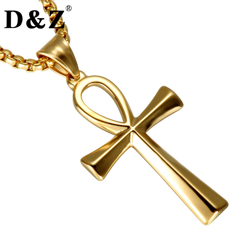 D&Z Religion Egyptian Ankh Crucifix Pendant & Necklace Stainless Steel  Symbol of Life Cross Necklaces Jewelry
