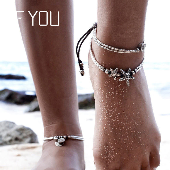 c1dda3f4a IF YOU Bohemia Double Starfish Bead Anklet Foot Jewelry Women Ankle Leg Jewelry  Fashion Summer Beach