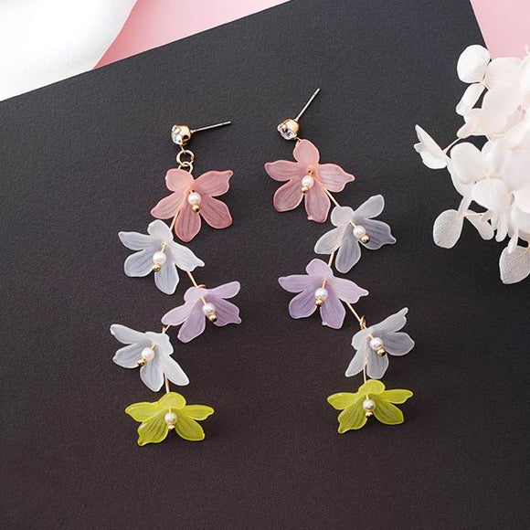 MENGJIQIAO 2018 New Korean Colorful Sweety Flower Long Earrings For Women Accessories Simulated Pearl Earings Fashion Jewelry