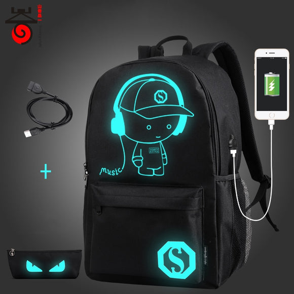 Senkey style USB Charge Men Backpacks Anime Luminous School Backpack Bag For Teenager Anti-theft Laptop Backpack Travel Mochila