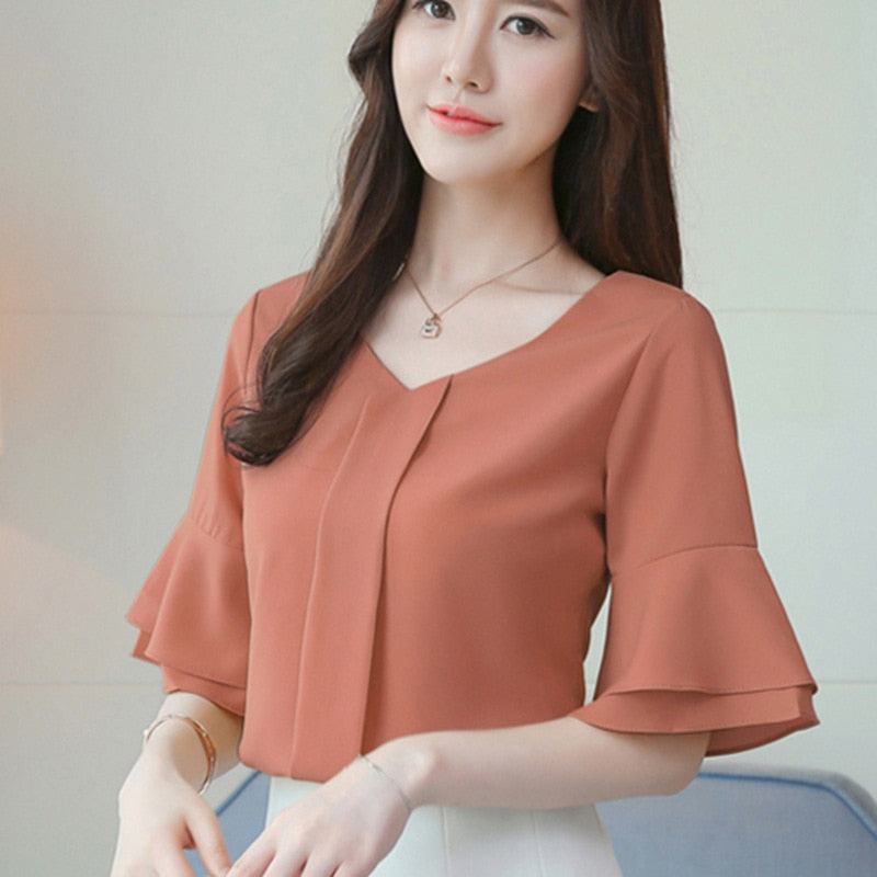 ed87dc3db68a1 Women Tops And Blouses 2018 Summer Chiffon Blouse Short Flare Sleeve  Fashion Ladies Shirts Casual Blusa ...