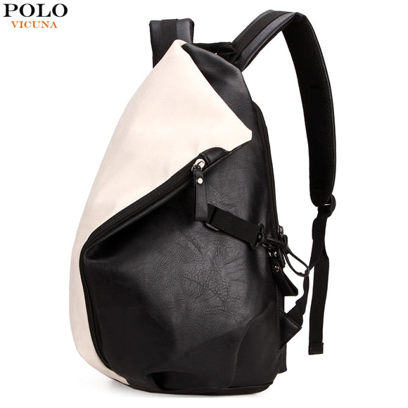 deb86653b1dd VICUNA POLO Personalized Casual Patchwork Backpack Men Laptop Bags Fashion Large  Capacity Leather Rucksack Men Travel