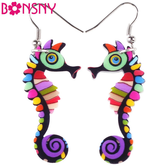 Bonsny  Acrylic Drop Dangle Long Hippocampus Seahorse Earrings New Fashion Ocean Collection Animal Jewelry For Women Accessories