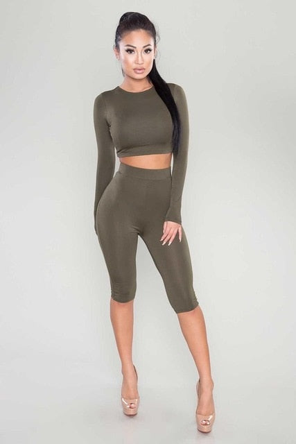 f40d5bb1194da ... HAOYUAN 2 Piece Set Women Sexy Long Sleeve Top And Shorts Track Suit Autumn  Bodycon Tracksuit ...