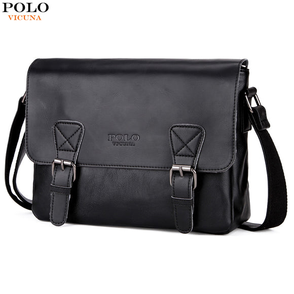 1564591db305 VICUNA POLO Famous Brand Leather Men s Business Satchel Shoulder Bag  Horizontal Men Handbag High Capacity Crossbody