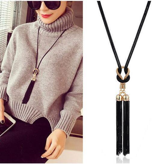 2018 New Arrival Female Pendant Necklace Tassel Long Winter Sweater Chain Necklace Hot Selling Women Necklace