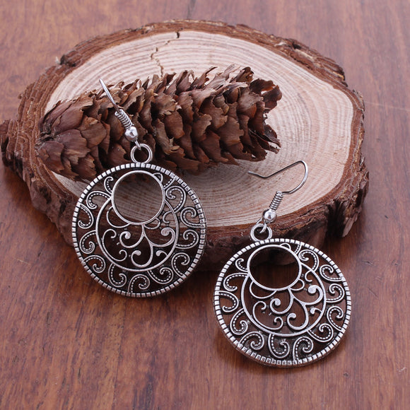 Fashion Statement Bohemian Vintage Ethnic Tibetan Silver Long Big Hollow Round Drop Earring Carved Flowers Drop Earrings Women