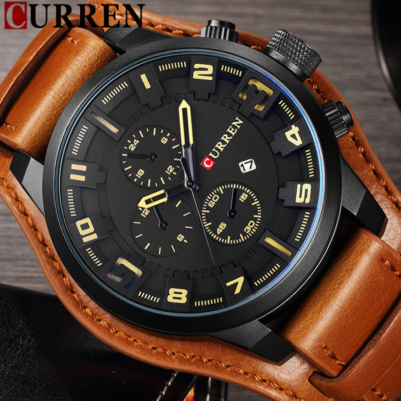 05dc7e3890 CURREN Date Men Watch Top Luxury Brand Sport Military Business Casual Male  Clock Leather Band Wrist ...