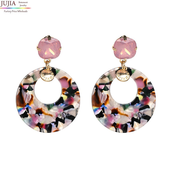 JUJIA Trend 7 colors fashion women earrings big round vintage statement Earrings for women jewelry