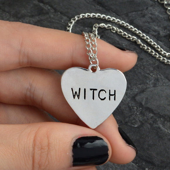QIHE JEWELRY Witch necklace Heart Engraved Gothic Witchcraft Wiccan Halloween Goth jewelry Women Necklace Gift for witches