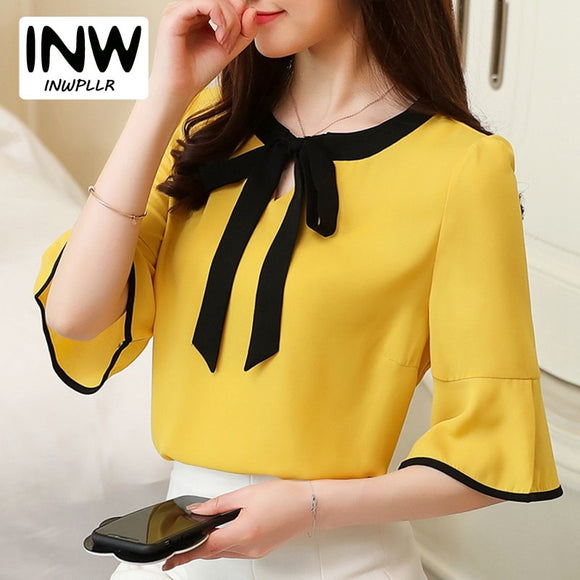 Summer Womens Blouses And Tops Bow Patchwork Office Shirts Women Short Sleeve Chiffon Blusas Mujer Plus Size Tops Ladies 2018