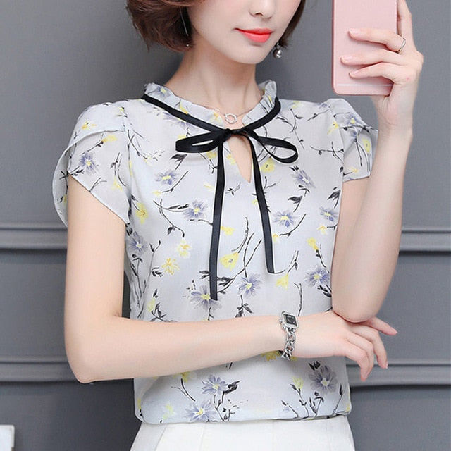 677eed430416 ... New 2018 Floral Chiffon Blouses Women Summer Tops And Shirts Bow Sweet  Blouse Female Short Sleeve ...