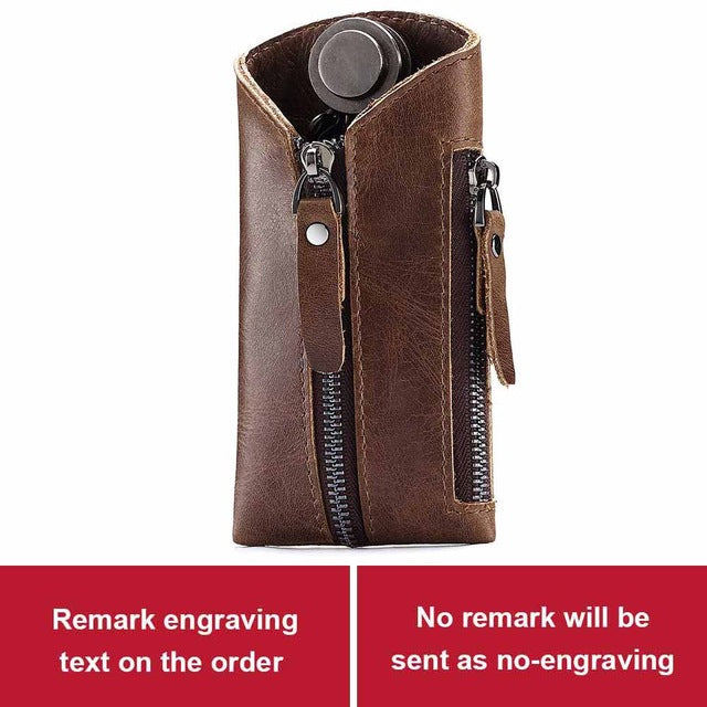GZCZ Genuine Leather Key Holder Free Engraving Men Smart Keychain Car Bag  Drop Shopping Coin Card Pouch Ring Wrap Organizer Case
