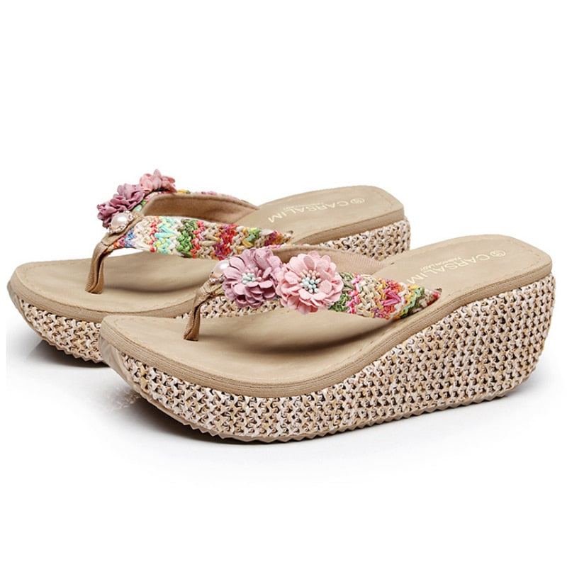 be5099ccfecb Summer Bohemia Slippers New Fashion Clip Toes Flip Flops Flower Womens  Wedge Sandals Casual Beach Slippers ...