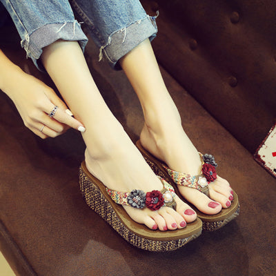 0903cc171a5ed6 ... Summer Bohemia Slippers New Fashion Clip Toes Flip Flops Flower Womens  Wedge Sandals Casual Beach Slippers ...