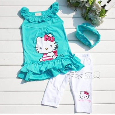 5608e72101157 Seartist 2018 New Rush Sale Baby Girls Hello Kitty Suits Children 3Pcs Sets  Headband+Dress+Pants Girl's Clothing Set Dresses C13