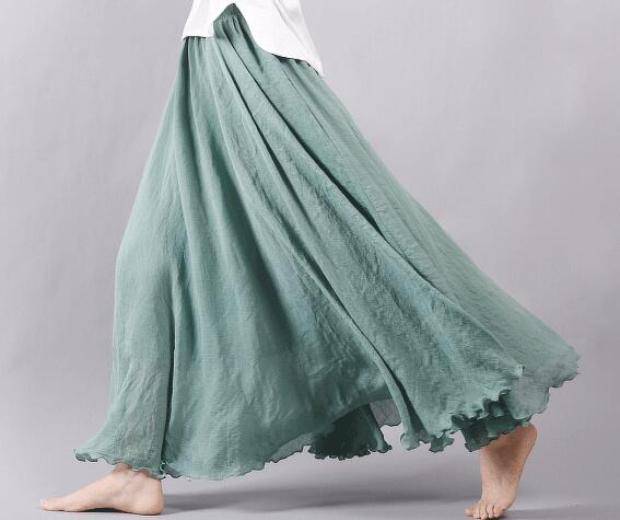 2c7371f78f490 Sherhure 2018 Women Linen Cotton Long Skirts Elastic Waist Pleated Maxi  Skirts Beach Boho Vintage Summer Skirts Faldas Saia