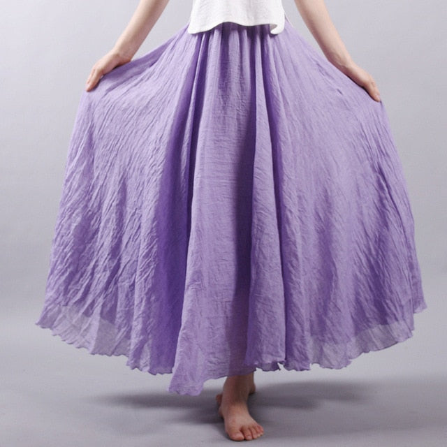 6108d933cd057 Sherhure 2018 Women Linen Cotton Long Skirts Elastic Waist Pleated ...