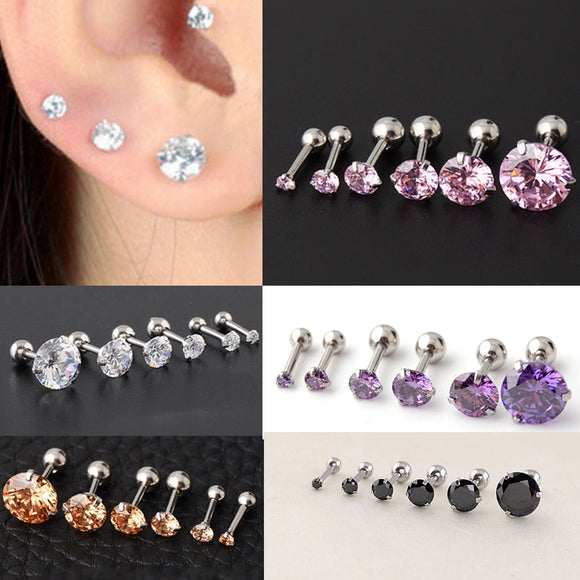 Fashion 1Pair Dazzling Zircon Men and Women Earrings Bone Nail Small Piercing  Body Jewelry