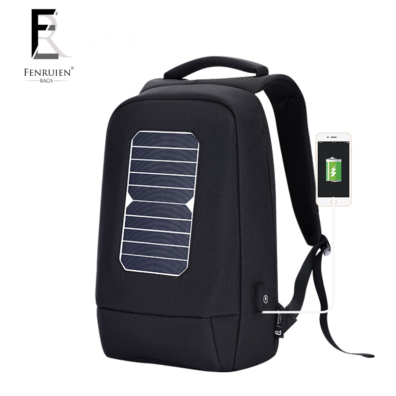 fe8404981970 FENRUIEN USB Solar Powered Charge Backpack for Men Women Laptop Backpack  15.6 inch Waterproof Business Fashion ...