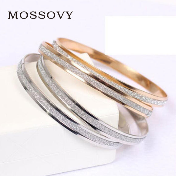 Mossovy Circle Dull Polish Bracelets Charms Rose Gold Silver Women Accessories Office Lady Style Bracelet Jewelry For Women