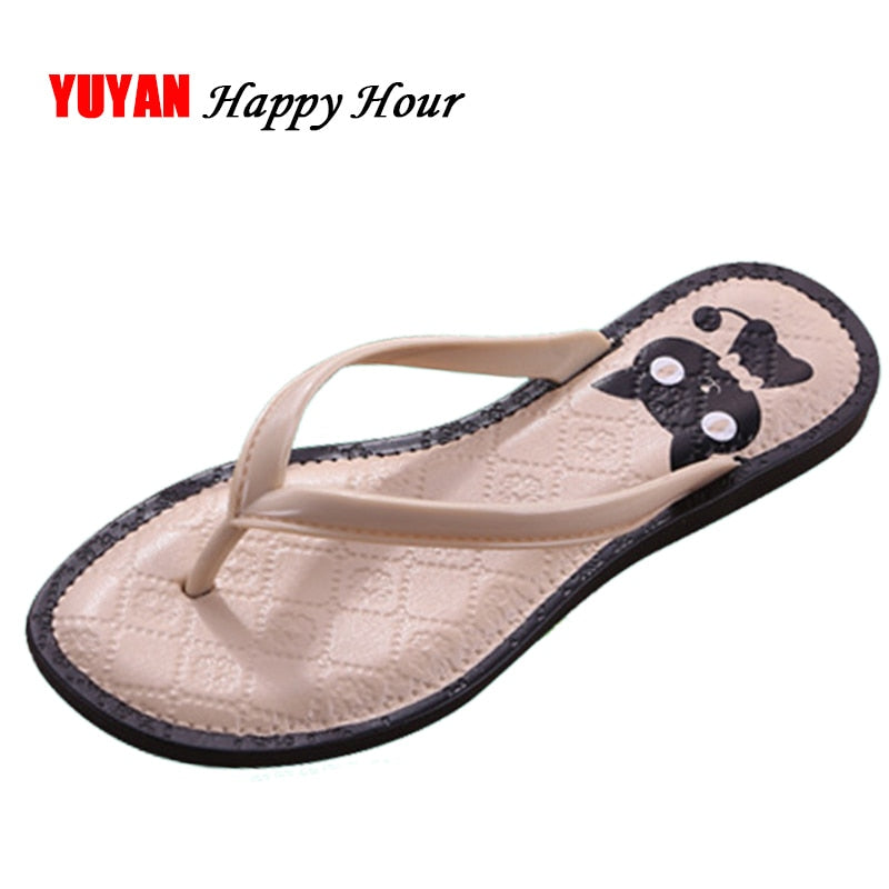 52743384b19a New 2018 Summer Slippers Women Flip Flops Cartoon Cat Women s Slippers  Ladies Brand Summer Shoes Flat ...