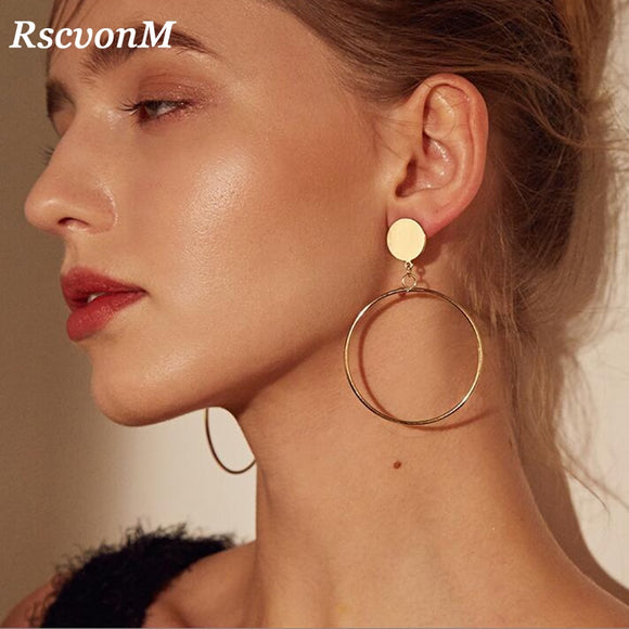 RscvonM New Arrive Silver/Gold Color Long Hollow Big Round Drop Earrings Hiphop Rock Simple For Women Accessories Jewelry