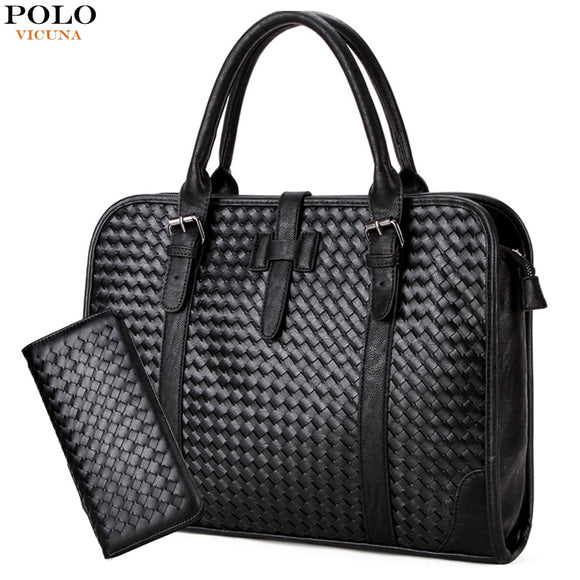 63511fbc9c4 VICUNA POLO Fashion Men Leather Knitting Men s Handbag With Zipper Purse  Set Business Briefcase For 15