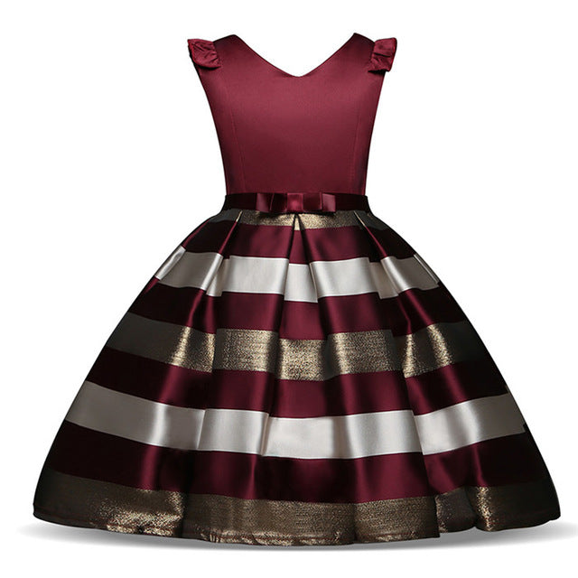 ... Fancy Striped Girls Dress Kids Summer Frocks For Girl Party Prom Gowns  Children Wedding Birthday Outfits ... 02d1b0fa8d9a