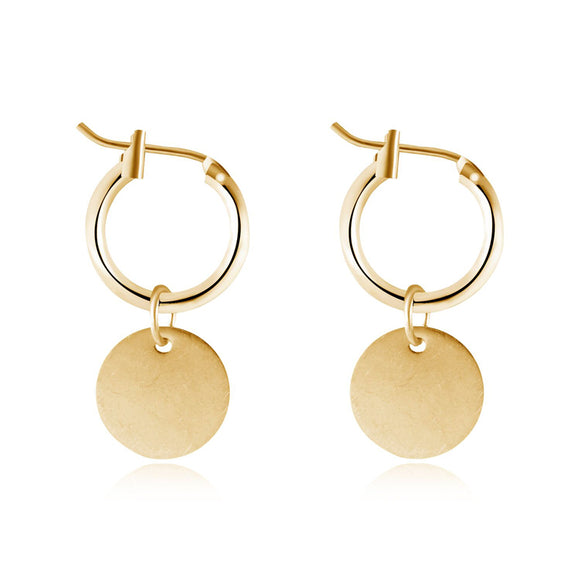 996543f1a GEOMEE 1Pair Gold Color Geometry Round Pandent Drop Earring Metal Hanging Earrings  Fashion Simple Jewelry Charms