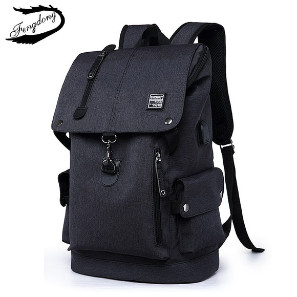 dc7d1d9c41 FengDong Men Backpack 2018 Shoulder Bag Male Fashion Best Travel Backpacks  Everyday Bagpack Laptop Bags For