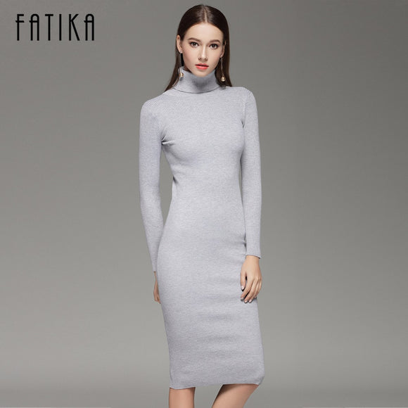 FATIKA 2017 Women Autumn Winter Sweater Knitted Dresses Slim Elastic Turtleneck  Long Sleeve Sexy Lady Bodycon 0110742c1878