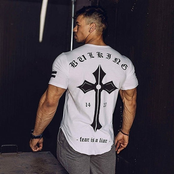 2018 Mens Tight-Fitting Short-Sleeved T-shirt Fitness Organization Body Fitness Gyms Fitness Splicing Cotton T-shirt