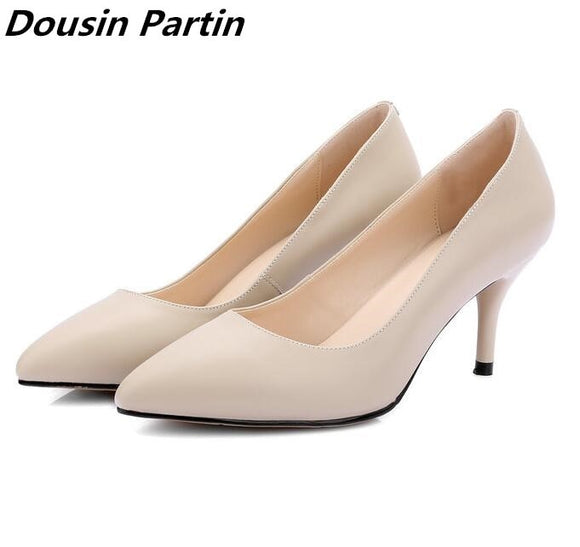 699403b56916 Dousin Partin 2018 fashion 3 colors smiple heels pointed toe ladies pumps shoes  woman glaidtor style